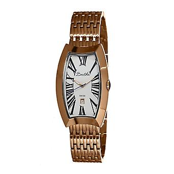 Bertha Laura Ladies Swiss Bracelet Watch w/Date - Rose Gold/White