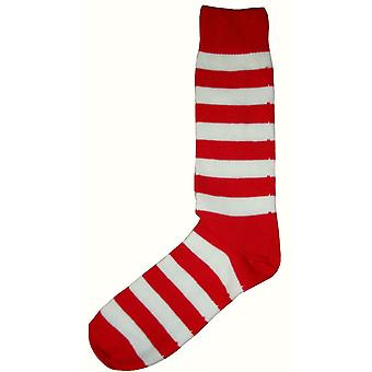 Bassin and Brown Striped Midcalf Socks - Red/White