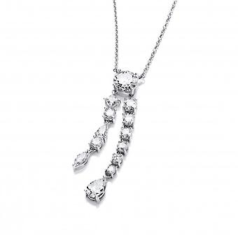 Cavendish French Silver and Cubic Zirconia Double Strand Teardrop Necklace