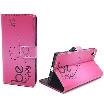Handyhülle Tasche für Handy Sony Xperia Z5 Premium Be Happy Pink