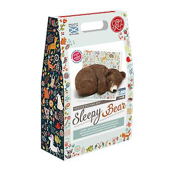 Sleepy Brown Bear Cub Needle Felting Kit