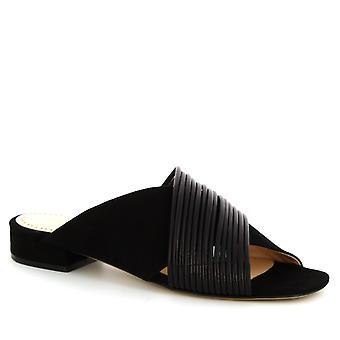 Leonardo schoenen vrouwenhand gemaakte open teen lage hak sandalen in zwart Suede