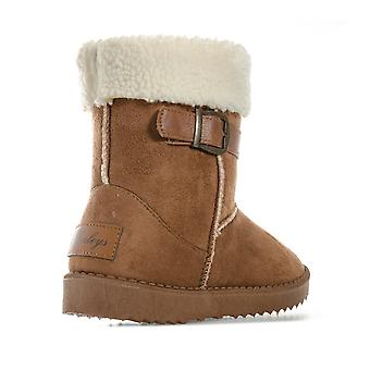 Children Girls Henleys Monroe Boots In Tan- Buckle To Collar- Faux Fur Lined -