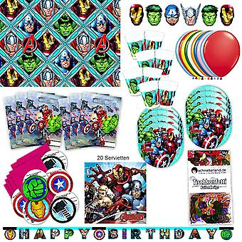 Avengers party set XL 73-teilig for 6 guests Marvel Avengersparty birthday decoration party package