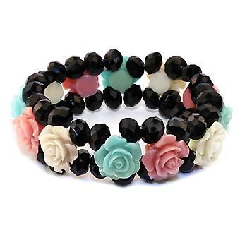 Crystal and Glass Band Of Roses Pastel Multi-Coloured Bracelet