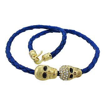 Gevlochten lederen koord wrap armband W/Goldtone schedel accenten
