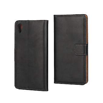 Wallet Case Sony Xperia XA, genuine leather, black