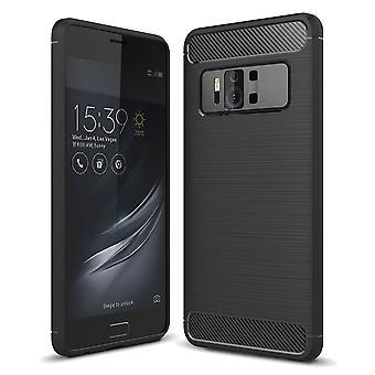 Asus Zenfone AR ZS571KL TPU Case Carbon Fiber Optik Brushed Schutz Hülle Schwarz