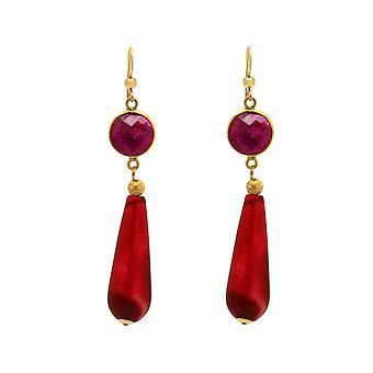Gemshine korva korut punainen rubiineja, akaatti jalokivi DROPS 925 hopea tai kullattu