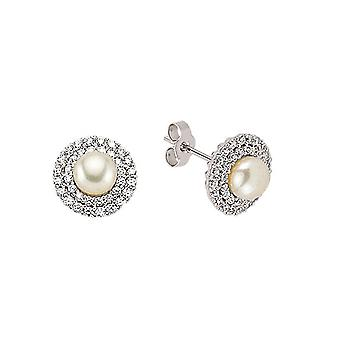 Jewelco London Ladies Rhodium Plated Sterling Silver Cubic Zirconia & Simulated Pearl Halo Stud Earrings 7mm