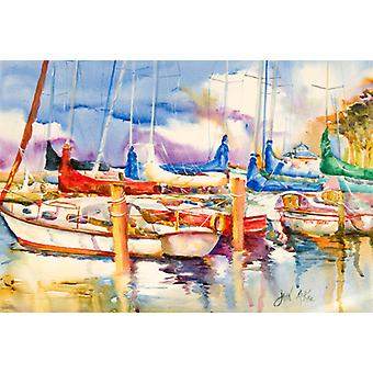 Carolines Treasures  JMK1072PLMT Run Away Sailboats Fabric Placemat