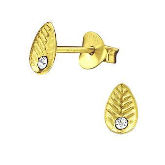 Leaf - 925 Sterling Silver Crystal Ear Studs - W29335X