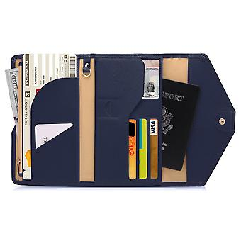 Protección RFID-Blue Travel Wallet Passport caso