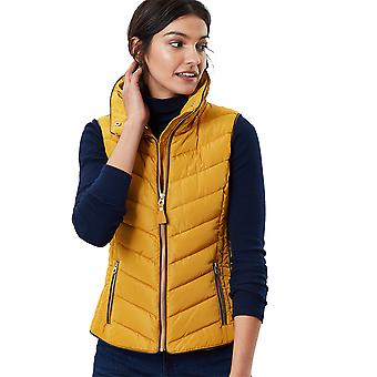 Joules Womens Maybury Fur Trim Quilted Gilet Bodywarmer
