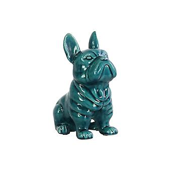 French bulldog figurine in ceramic with pricked ears, turquoise blue