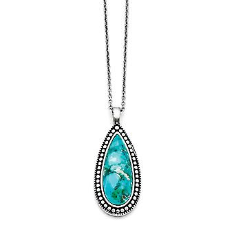 Stainless Steel Polished Fancy Lobster Closure Simulated Turquoise Teardrop Necklace 18 Inch Jewelry Gifts for Women