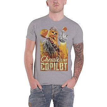 Star Wars T Shirt Han Solo Movie Chewie Falcon Co Pilot new Official Mens Grey