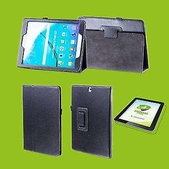 For Samsung Galaxy Tab S6 10.5 T860 T865 Cover Case Black Art Leather Case New +0.3mm Hard Glass