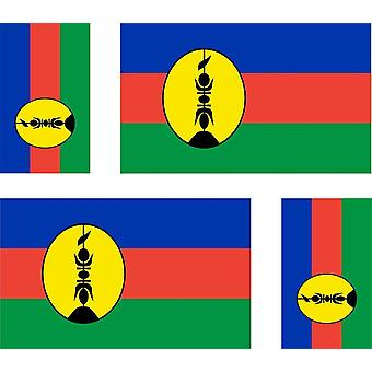 4 X Sticker Sticker Sticker Car Motorcycle Valise Pc Portable Flag New Caledon