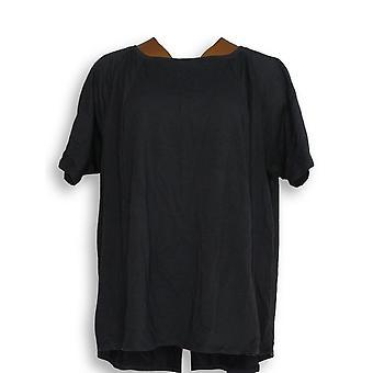 Anybody Women's Top 1X Cozy Knit Short-Sleeve Swing Black A349828