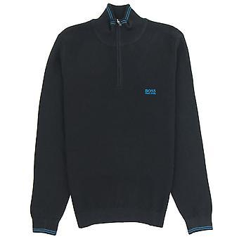 Hugo Boss kleine Logo Quarter Zip Sweatshirt 001 Schwarz