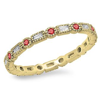 Dazzlingrock Collection 14K Round & Baguette Ruby & White Diamond Wedding Eternity Stackable Band, Yellow Gold