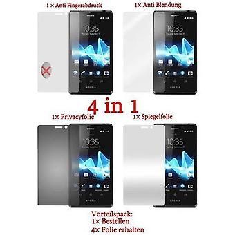 Cadorabo Screen Protectors for Sony Xperia T - Protective Films in HIGH CLEAR - 4 Foils (1x Privacy - 1x Mirror - 1x Matte - 1x Anti-Fingerprint)
