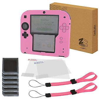 Essentials kit for nintendo 2ds inc silicone cover, screen protectors, game cases & wrist straps - pink