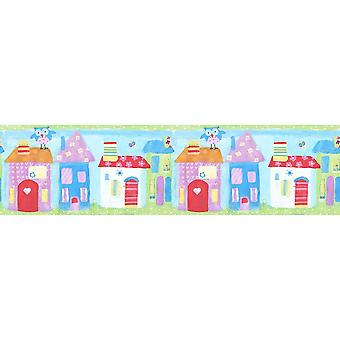 Children's Town House Wallpaper Border Owls Blue Green Pink Paste Wall Galerie