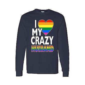ユニセックス私は愛私クレイジー ゲイの夫長袖シャツ