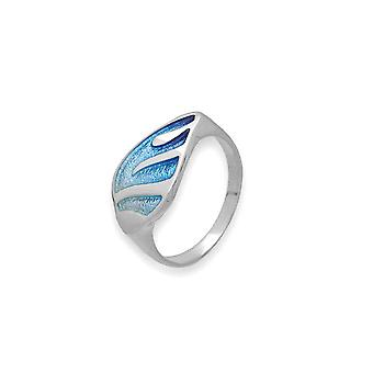 Sterling Silver Traditional Scottish Mirage Blue Enamel Hand Crafted Design Ring
