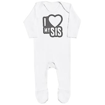 I Love My Sis Black Outline Baby Romper
