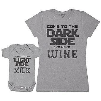 Melk op de lichte kant-wijn op de donkere kant-Baby Romper & moeder ' s T-shirt