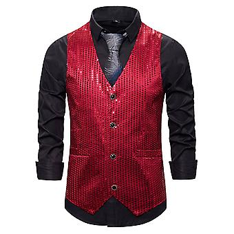 Allthemen Men's Casual Gorgeous V-Ausschnitt Einreiher Colorblocked Pailletten Anzug Weste