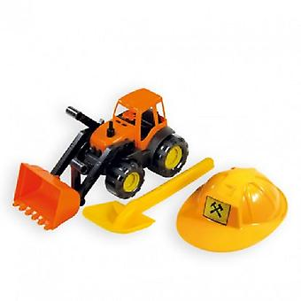 Mochtoys Toy Set 10593 Excavator orange with helmet and sand shovel in yellow