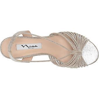 Nina naisten nadelyn kangas Peep Toe rento slingback sandaalit