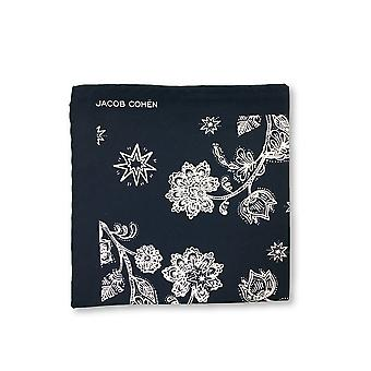 Jacob Cohen Pocket Square in navy and white flower design