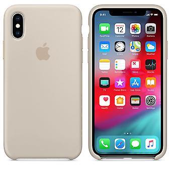 Оригинал, упаковки Apple силиконовые микро-волокно крышку случае для iPhone XS - серый камень