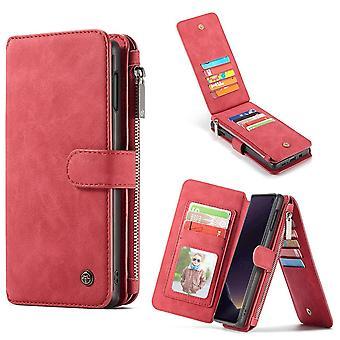 For Samsung Galaxy S10e sag rød læder tegnebog aftagelig dækning 14 kort slots