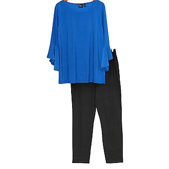 Women with Control Set Tall Flounce Sleeve Top & Ankle Pant Blue A302300