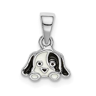 925 Sterling Silver Rhodium plated for boys or girls Enameled Puppy Pendant Necklace - .5 Grams