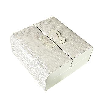 Jewellery box with Butterfly detail - White