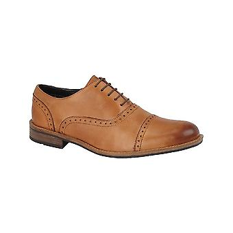 Roamers Tan Leather 5 Eyelet Capped Brogue Pu Sock Textile Lining Tr Sole