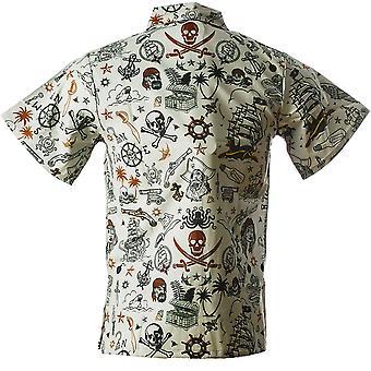 Funny Guy Mokken Mens Pirate Hawaiian Print Button Down Short Sleeve Shirt, X-L...