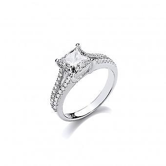 Cavendish francia ezüst és CZ tér vágott pasziánsz gyűrű