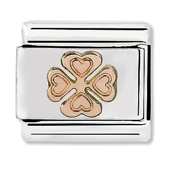 Nomination Classic Engraved Clover Steel and 9k Rose Gold Link Charm 430104/06