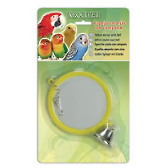 Arquivet Yellow Mirror With Bell 12X8X2 Cm (Birds , Bird Cage Accessories , Mirrors)