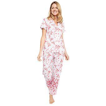 Cyberjammies 1367 Frauen's Nora Rose Portia rosa Blumendruck Baumwolle gewebt Pyjama Set