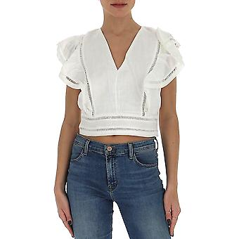 Isabel Marant ÉToile Ht164220p025e20wh Women's White Cotton Top