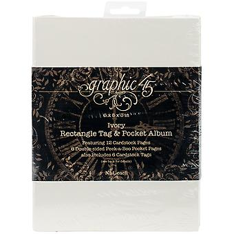 "Gráfico 45 Grapas Etiqueta & Pocket Album 6""X8""X3"" - Rectángulo de Marfil"